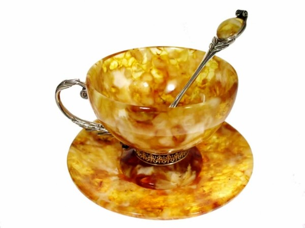 Современная чайная пара из янтаря и серебра