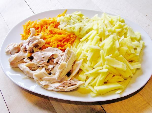 Пассерованные овощи и куриное мясо для щей с курицей