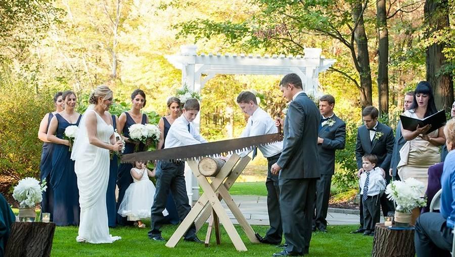 Жених и невеста пилят дерево