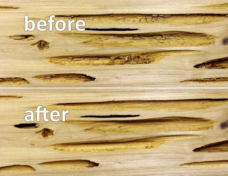 Результат очистки полостей, до и после