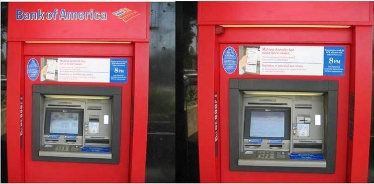 Два банкомата: один со скиммером, другой без скиммера