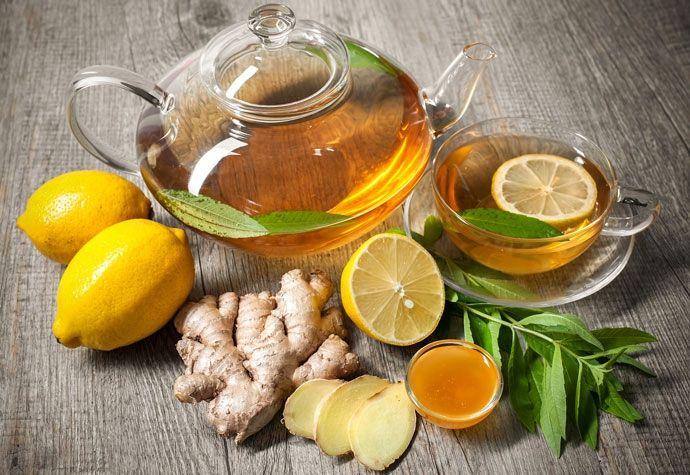 Имбирь, мед, лимон к чаю