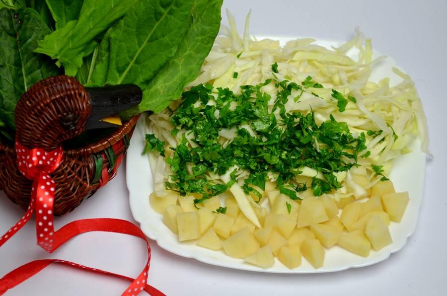 Приготовление зеленого борща с телятиной, шаг 3