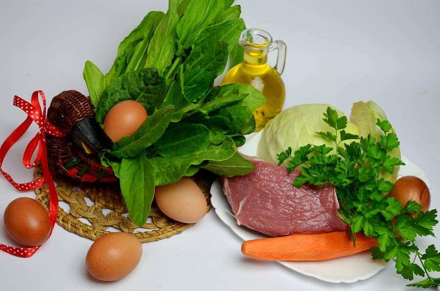Ингредиенты для зeленого борща с телятиной