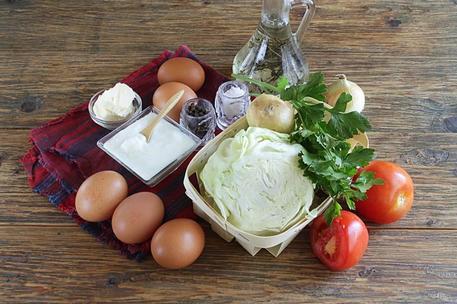 Ингредиенты для омлета с овощами и простоквашей