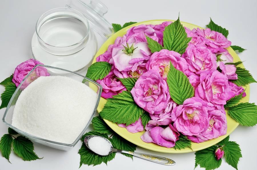Ингредиенты для варенья из чайной розы