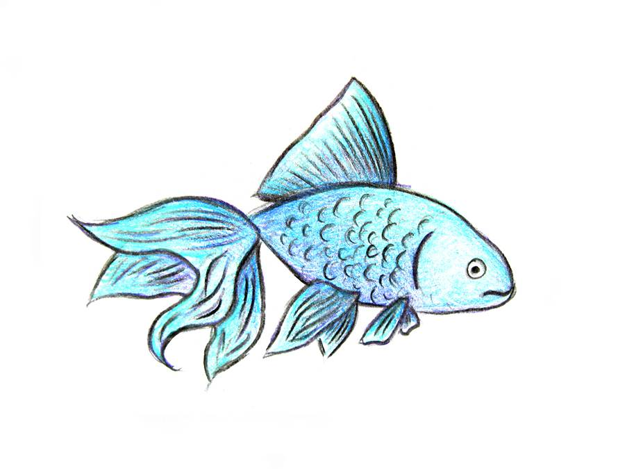 Нарисованная рыбка