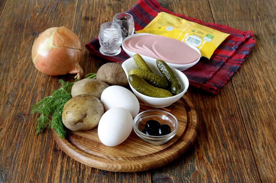 Ингредиенты для новогоднего салата Собака