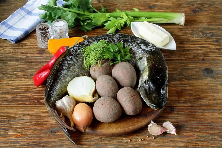 Ингредиенты для рыбного супа с тыквой