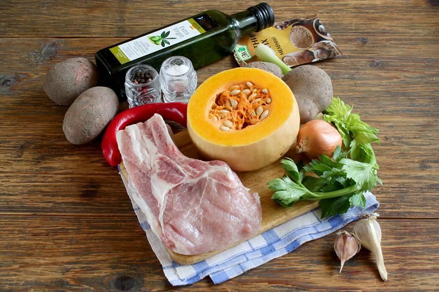 Ингредиенты для тыквенного супа