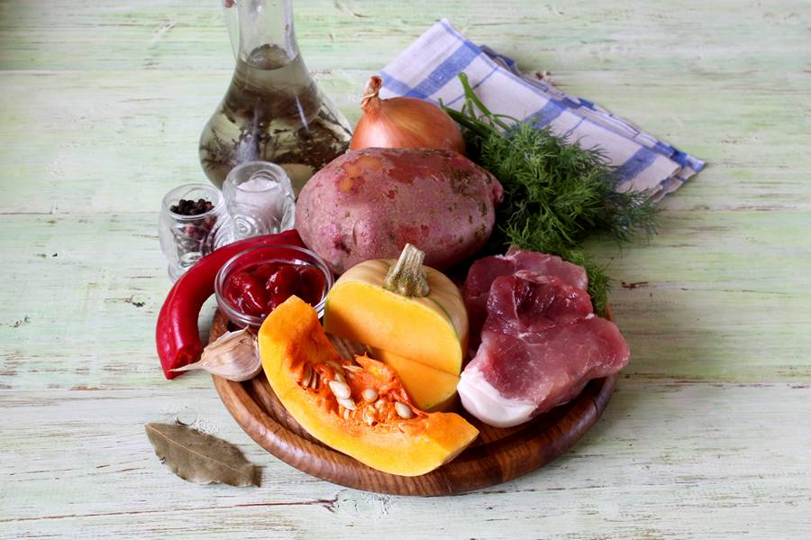 Ингредиенты для жаркого с тыквой
