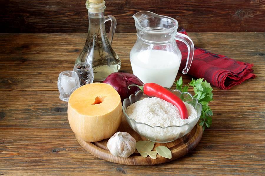 Ингредиенты для риса с тыквой