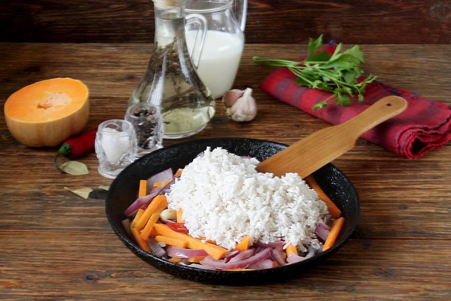 Приготовление риса с тыквой