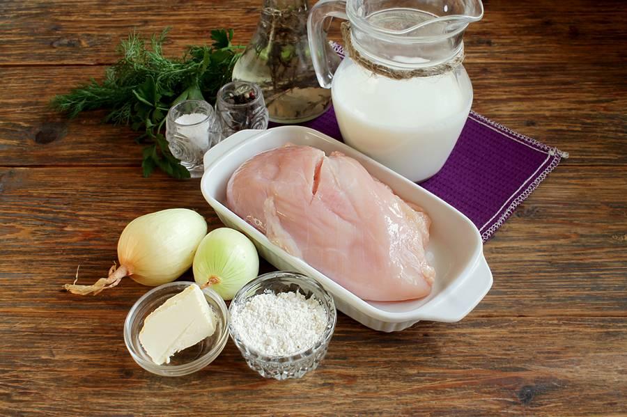 Ингредиенты бефстроганова из курицы