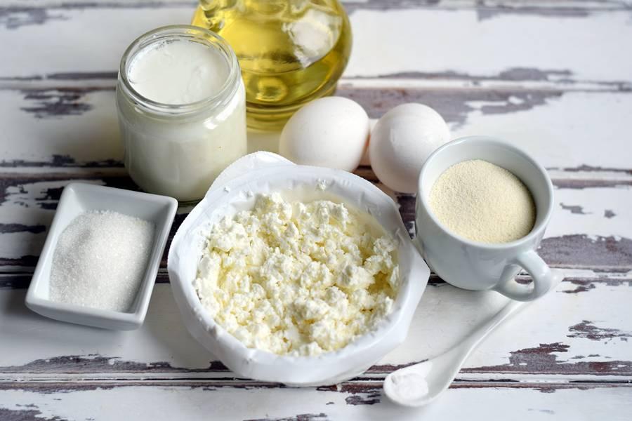 Ингредиенты творожной запеканки с манкой