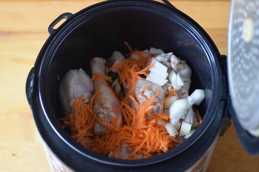 Приготовление чечевицы с курицей в мультиварке шаг 3