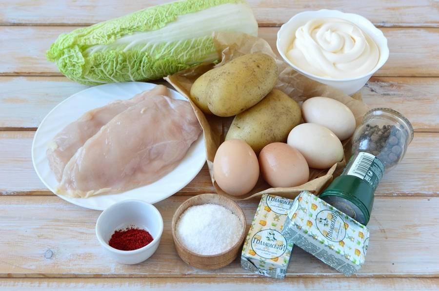 Ингредиенты слоеного салата с пекинской капустой