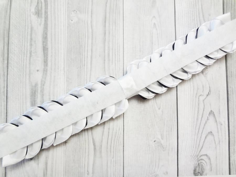 Изготовление банта на резинке для волос в технике канзаши шаг 10
