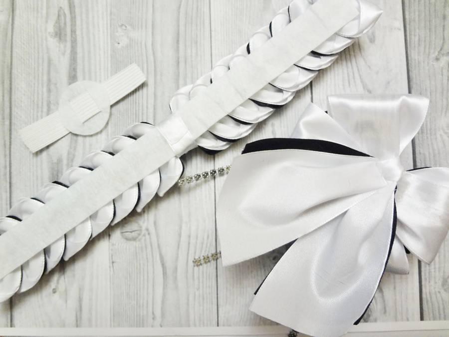 Изготовление банта на резинке для волос в технике канзаши шаг 16