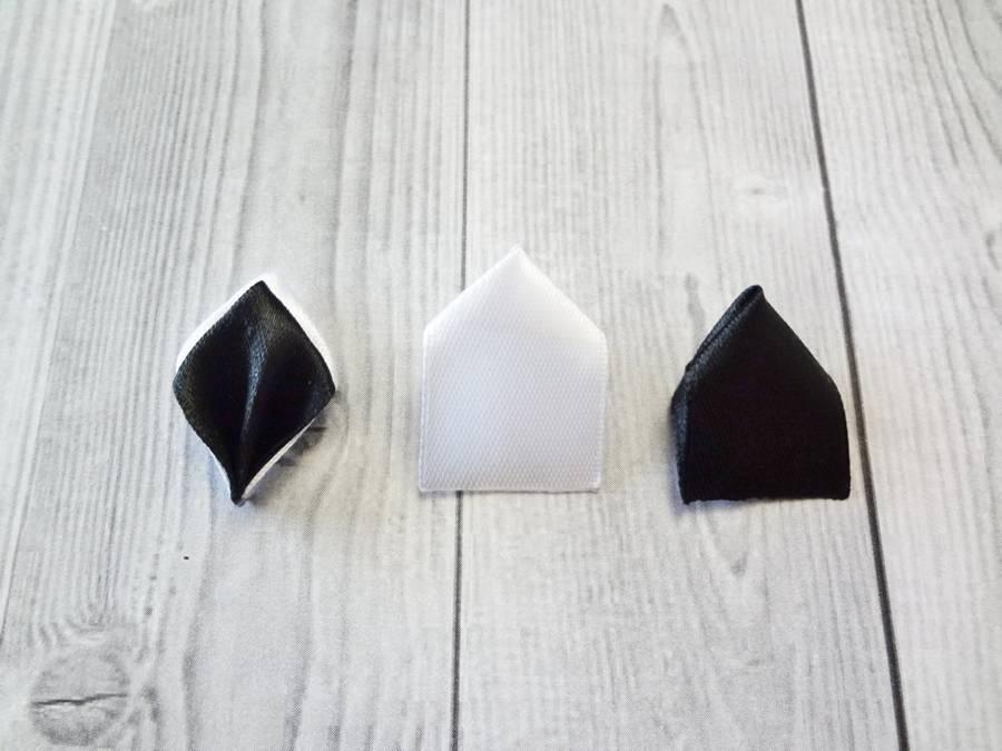 Изготовление банта на резинке для волос в технике канзаши шаг 3