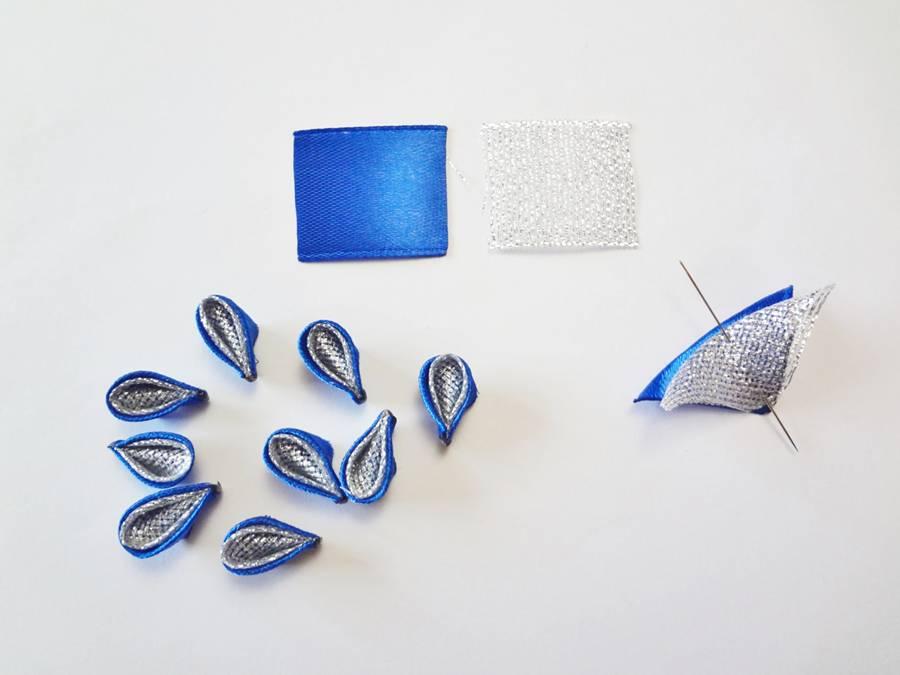 Изготовление заколок с цветами, выполненными в технике канзаши шаг 6