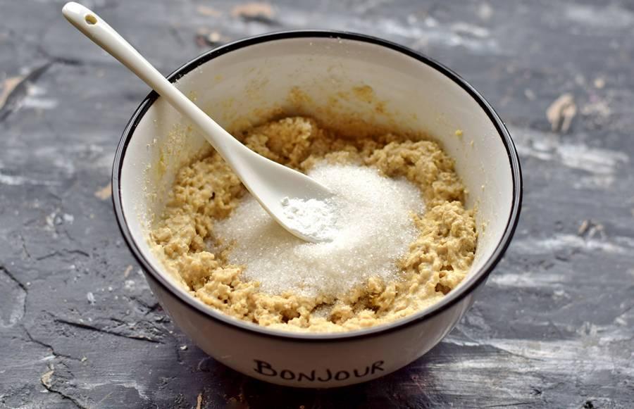 Приготовление овсяного печенья с кунжутом шаг 4