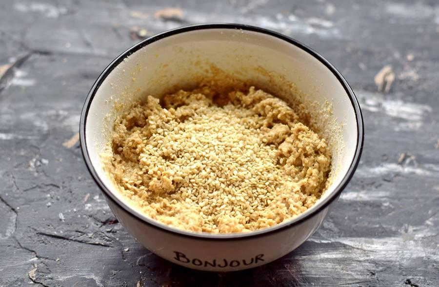 Приготовление овсяного печенья с кунжутом шаг 5