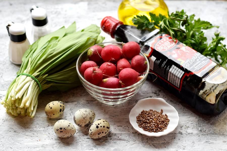 Ингредиенты салата с черемшой и редисом