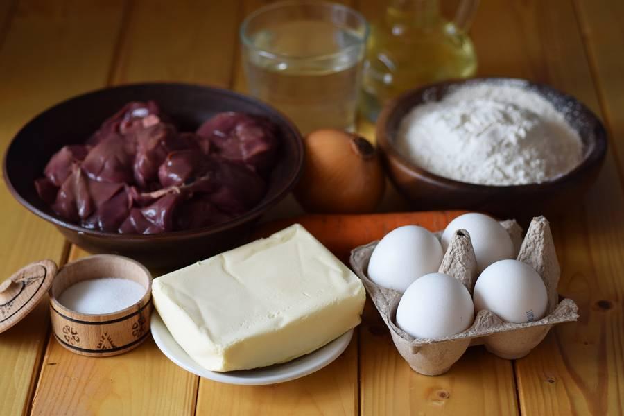 Ингредиенты профитролей с печенью