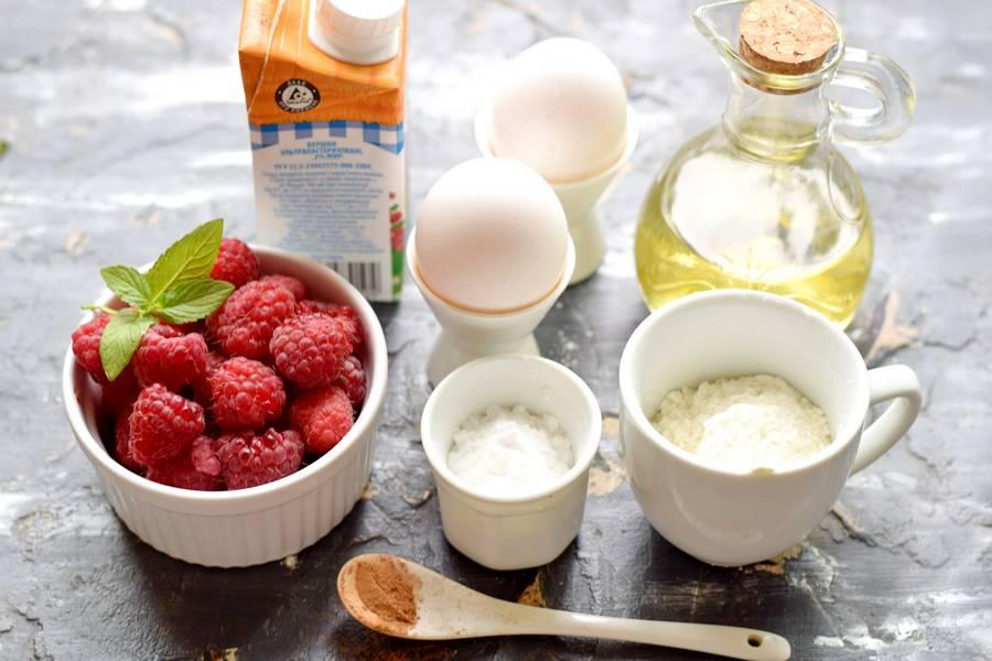 Ингредиенты клафути с малиной