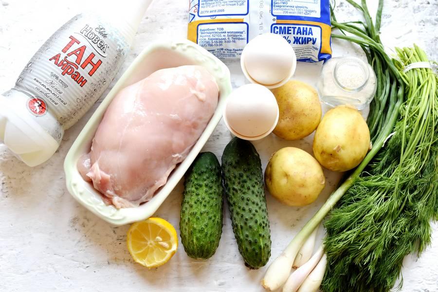 Ингредиенты окрошки на айране