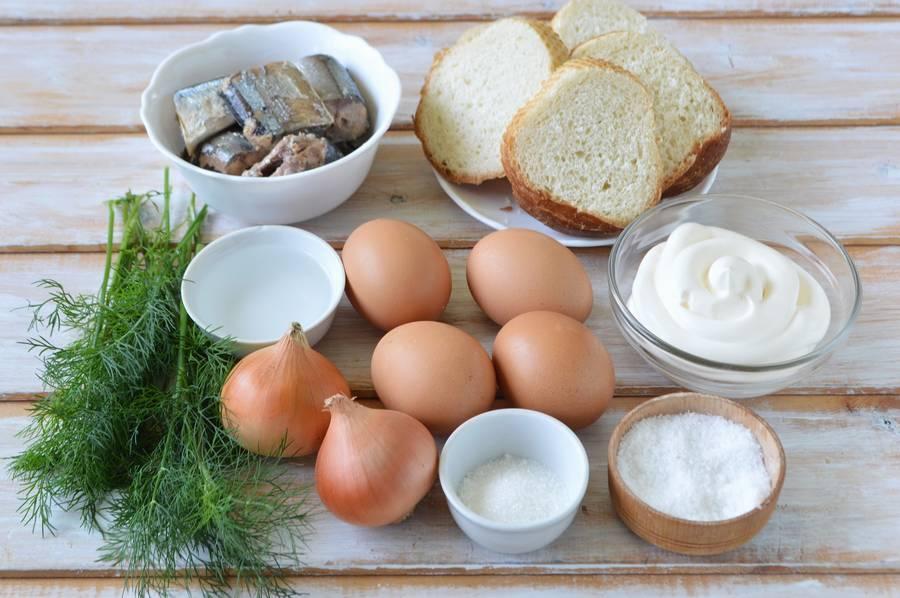 Ингредиенты слоеного салата Одуванчик