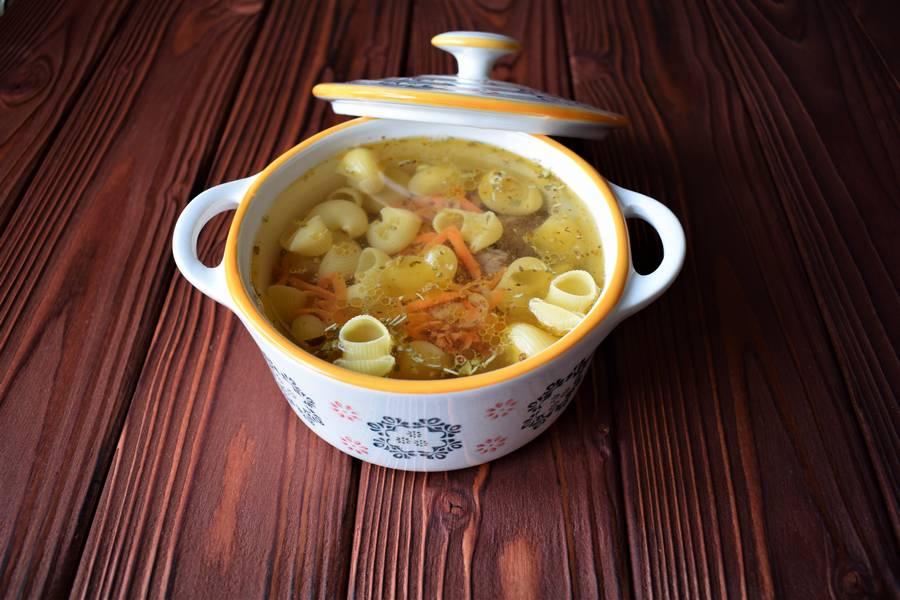 Приготовление в духовке супа с макаронами шаг 5