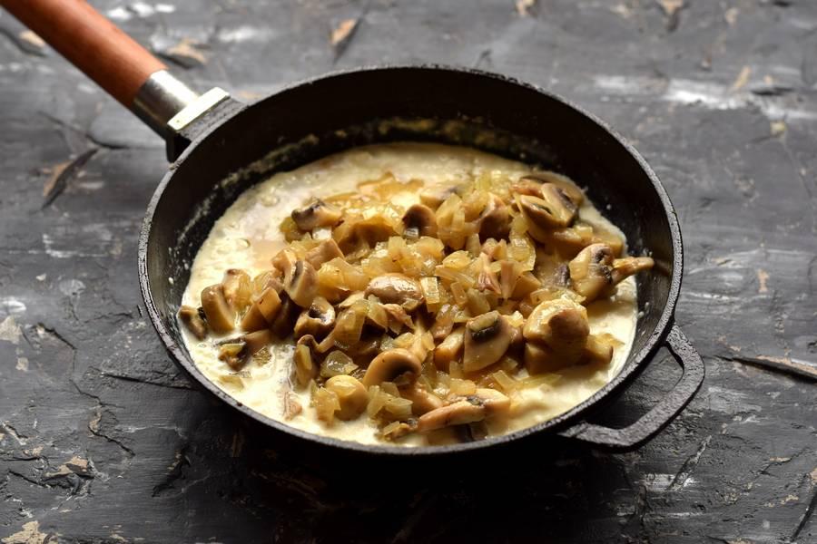 Приготовление фетучини с сыром и грибами шаг 7