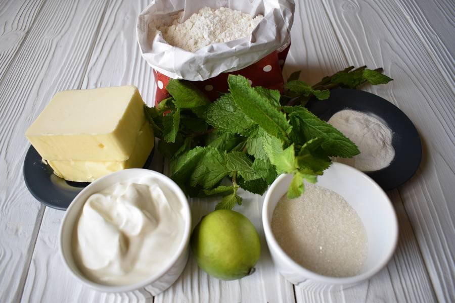 Ингредиенты песочного печенья с мятой и лаймом