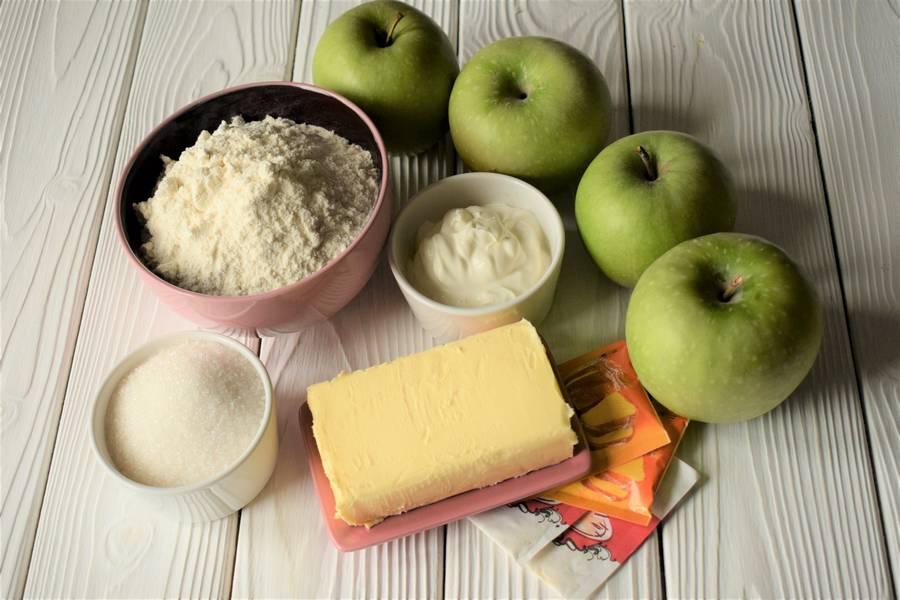 Ингредиенты открытых яблочных песочных пирожков