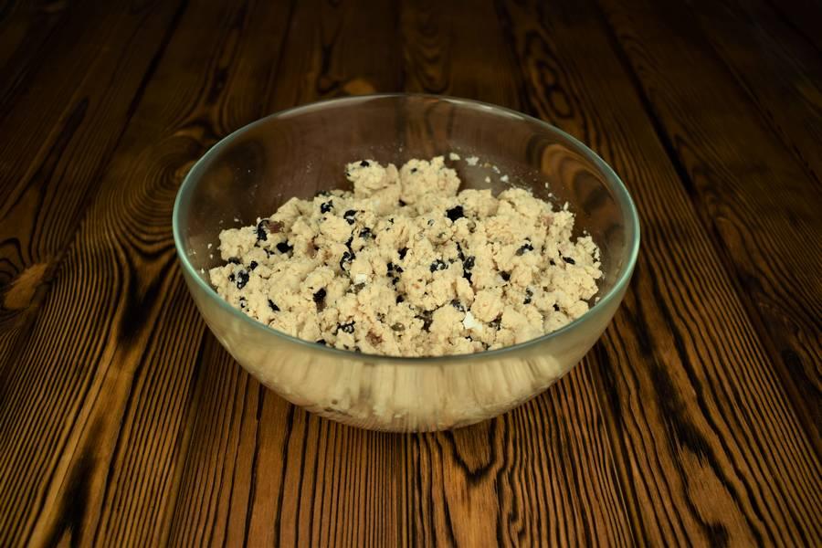 Приготовление песочного пирога с курицей и грибами шаг 6