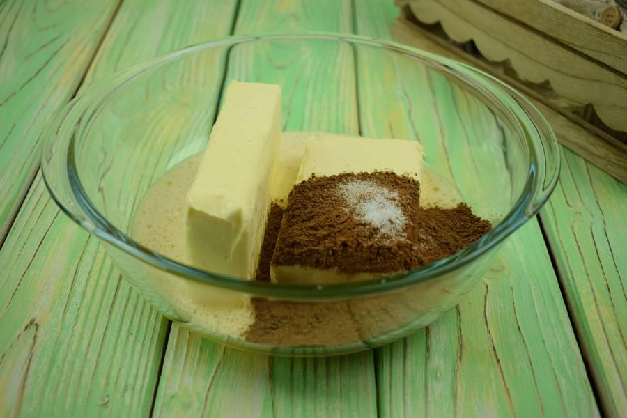 Приготовление шоколадного печенья с кокосово-арахисовым кремом шаг 2