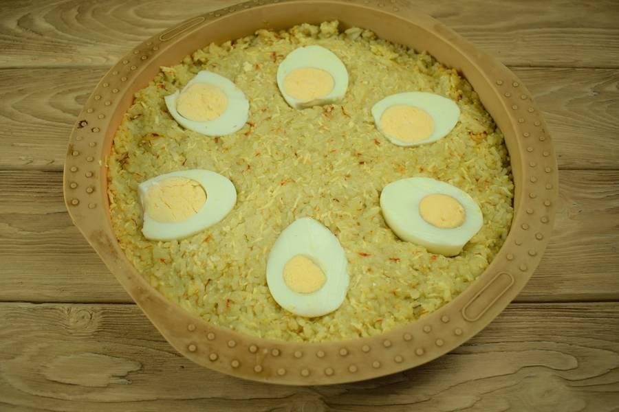 Приготовление рисовой запеканки с яйцом и сыром шаг 5