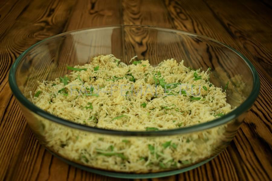 Приготовление из баклажанов рулетов с сыром, чесноком и грецким орехом шаг 6