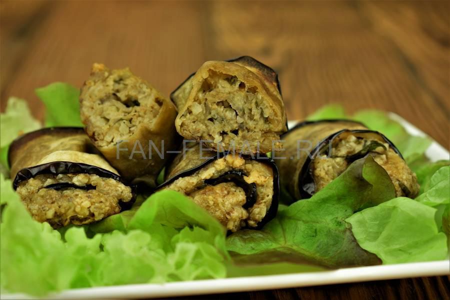 Рулеты из баклажана с сыром и грецким орехом