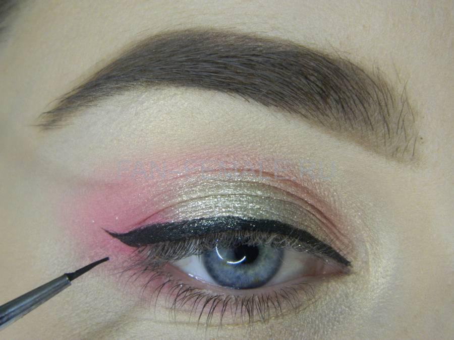 Выполнение легкого макияжа с розовым акцентом шаг 9