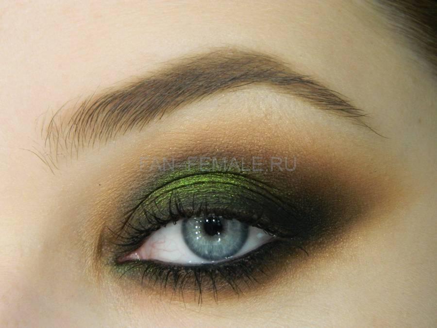 Макияж Зелёный смоки для светлых глаз