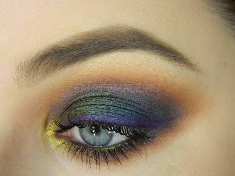 Универсальный модный вечерний цветной макияж глаз