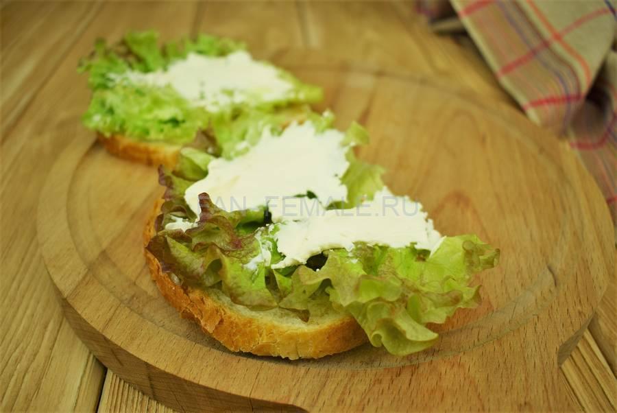 Приготовление сэндвичей из пшеничного хлеба, свинины, моцареллы, красного лука, маскарпоне, салата шаг 4