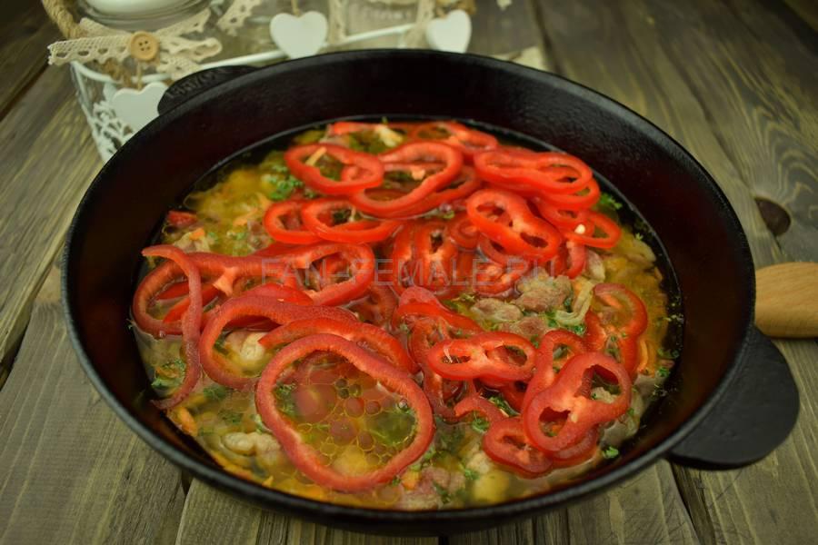 Приготовление тонкой вермишели с овощами и свининой, шаг 10