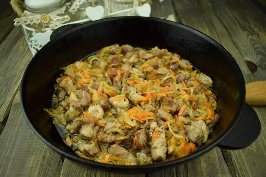 Приготовление тонкой вермишели с овощами и свининой, шаг 8