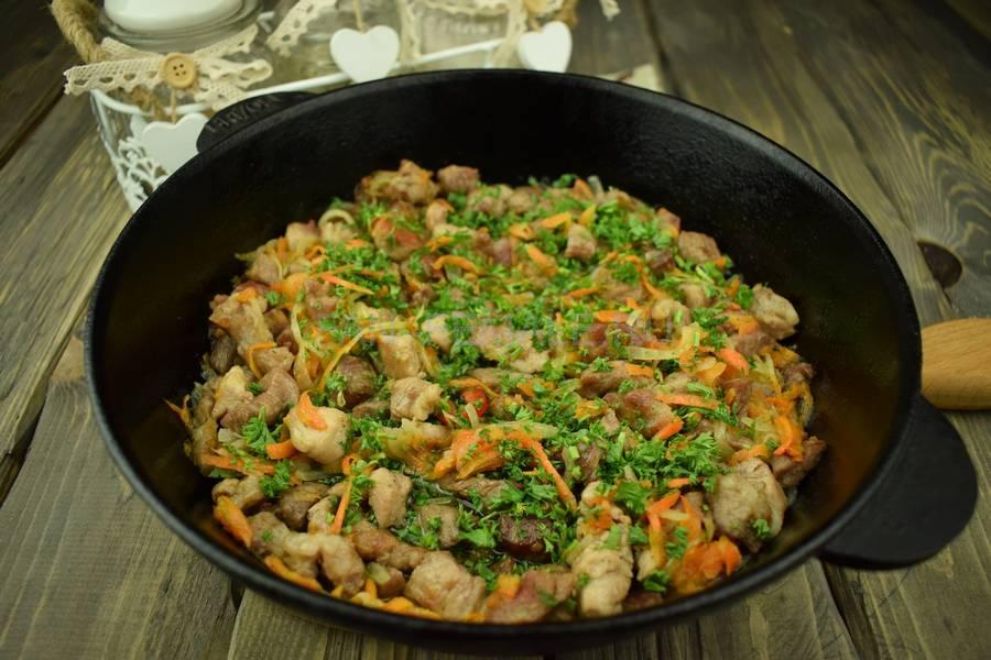 Приготовление тонкой вермишели с овощами и свининой, шаг 9