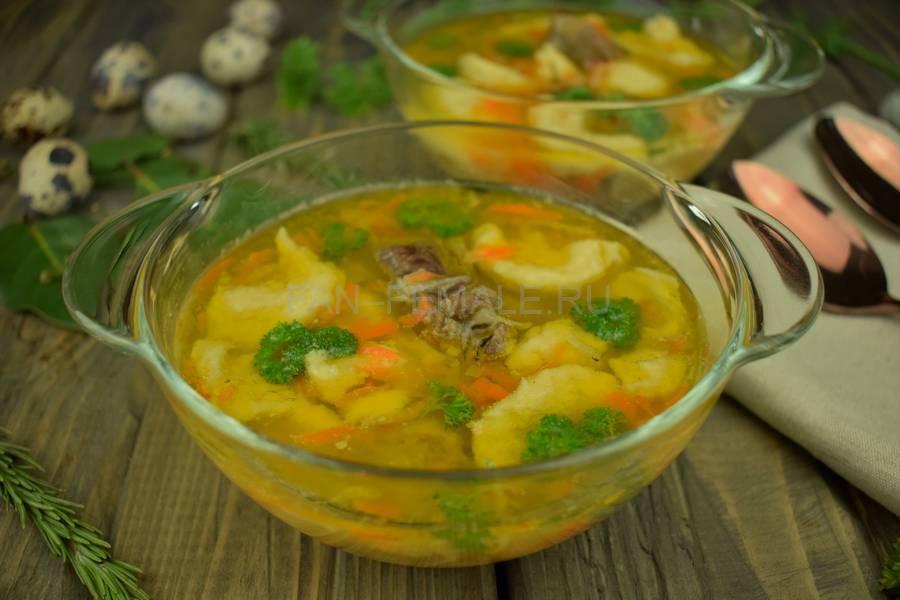 Суп с клецками и говядиной