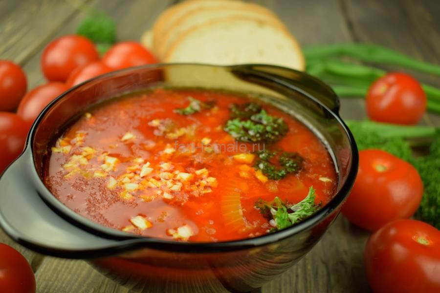 Томатный суп из седла барашка с рисом